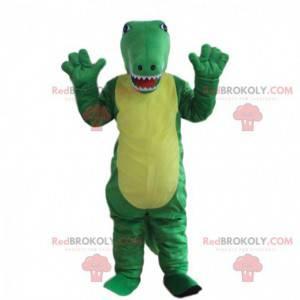 Traje de crocodilo verde e amarelo, mascote de jacaré -