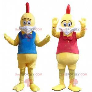 Kostuums van gele kippen, mascottes van kleurrijke hanen -