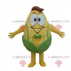 Mascote gigante e sorridente em orelha de milho, fantasia de