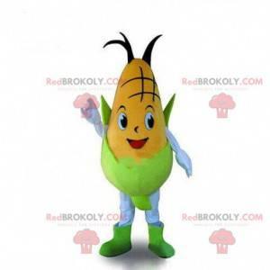 Fato de sabugo de milho amarelo e verde, mascote de milho -