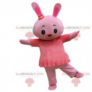 Disfraz de conejita rosa con vestido y nariz en forma de
