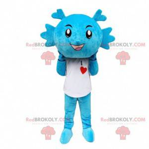 Mascote de dragão azul, fantasia de criatura azul -