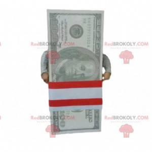 Mascot bundle of 100 dollar bills. Giant ticket - Redbrokoly.com