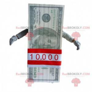 Pacote da mascote com notas de 100 dólares. Bilhete gigante -