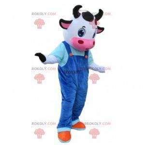 Costume da mucca con tuta blu, mascotte di mucca -