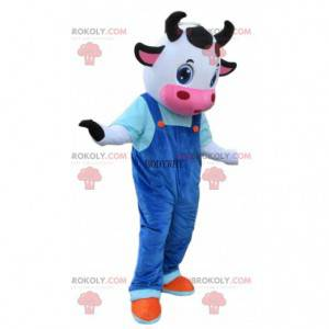 Koe kostuum met blauwe overall, koe mascotte - Redbrokoly.com
