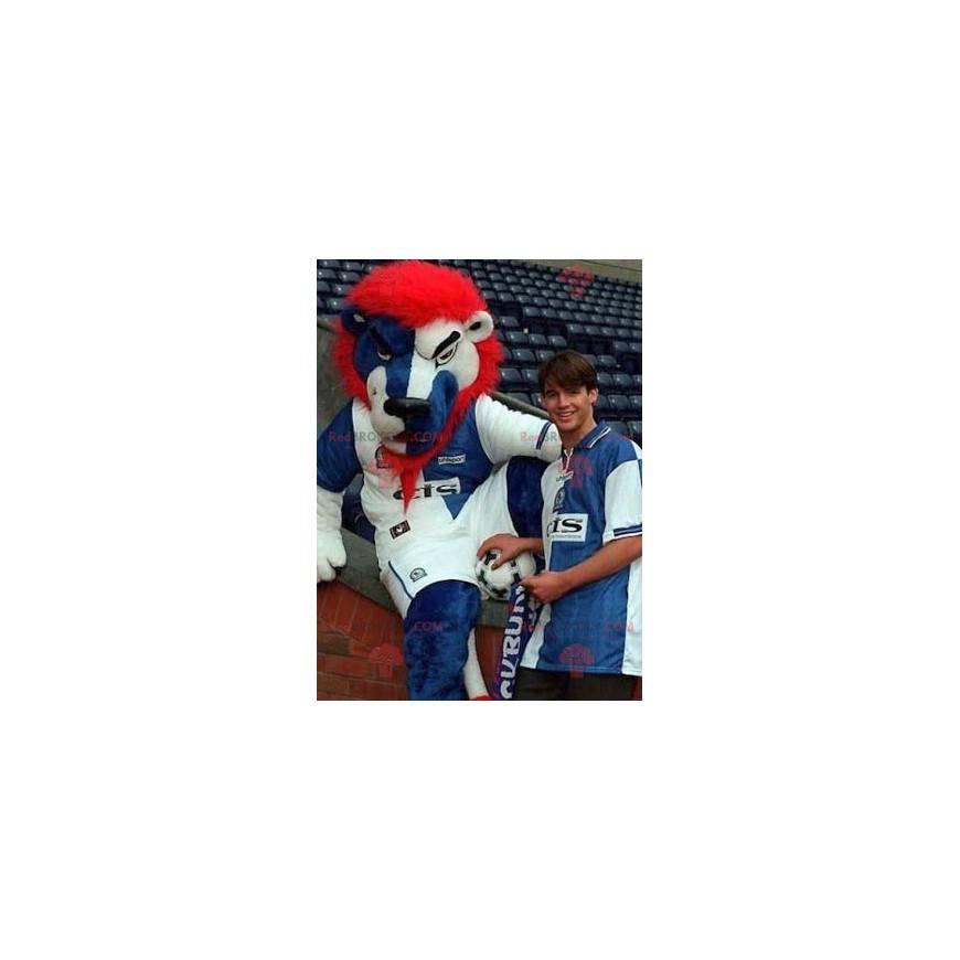 Löwenmaskottchen blau weiß und rot - Redbrokoly.com