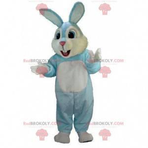 Blauw en wit konijnenkostuum, pluche konijnenkostuum -