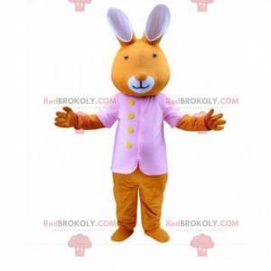 Disfarce de coelho laranja vestido de rosa, mascote de coelho -