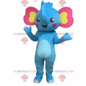 Mascote elefante azul com orelhas rosa e amarelas -