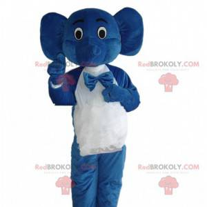 Blue elephant costume in waiter outfit, waiter mascot -
