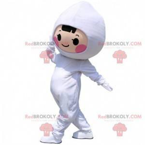 Criança mascote, garota vestida com um macacão branco -