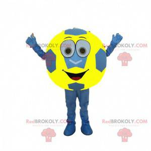 Blue and yellow soccer ball mascot, supporter costume -