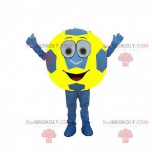 Mascota de balón de fútbol azul y amarillo, disfraz de