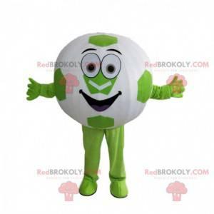 Mascot pelota redonda, pelota de fútbol gigante verde y blanca