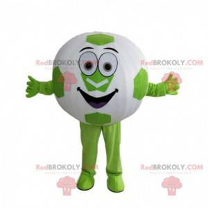 Ronde bal mascotte, gigantische groene en witte voetbal -