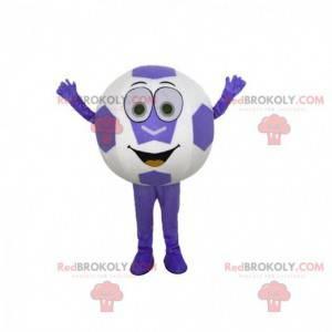 Maskot kulatý míč, obří fialové a bílé fotbalový míč -