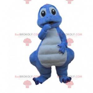 Costume da dinosauro blu e bianco, costume da drago -