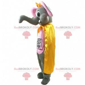 Grå og lyserød elefantmaskot med en stor bagagerum -
