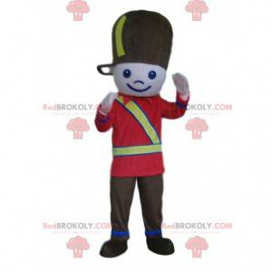 Soldier mascot, boy in black and red soldier uniform -