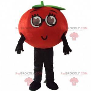 Reusachtige mascotte rode tomaat, kostuum van groenten en fruit