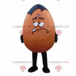 Mascote de ovo marrom e preto, gigante e divertido, fantasia de