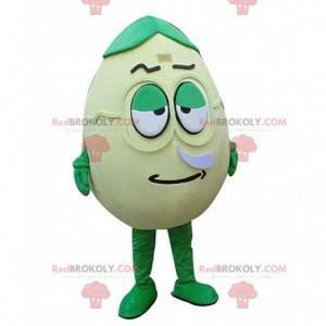 Mascote de ovo verde, gigante e divertido, fantasia de ovo -