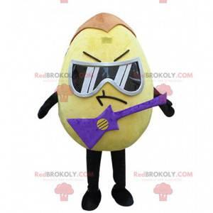 Geel ei mascotte met bril en een elektrische gitaar -