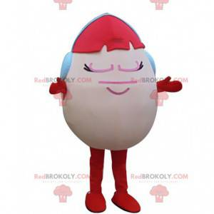 Mascote ovo rosa com cabelo ruivo e fones de ouvido -