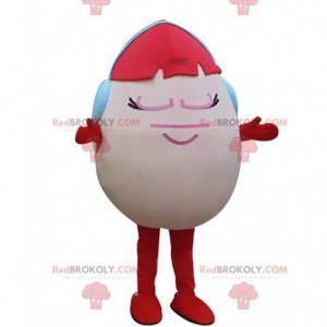 Růžové vejce maskot s červenými vlasy a sluchátka -