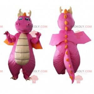 Mascote dragão rosa e laranja, fantasia de dinossauro -