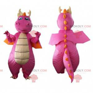 Rosa und orange Drachenmaskottchen, Dinosaurierkostüm -