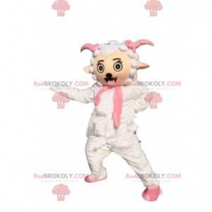 Wit en roze schapenmascotte, reusachtig schaapkostuum -