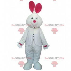 Disfraz de conejo blanco y rosa, mascota de conejo gigante -