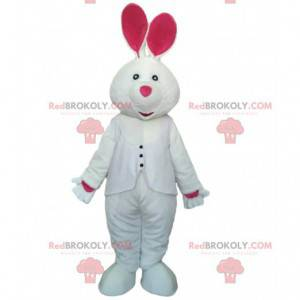 Wit en roze konijnenkostuum, mascotte reuzenkonijn -