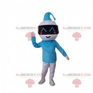 Blå og hvid robotmaskot, originalt futuristisk kostume -