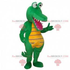 Zelený a žlutý krokodýlí kostým, aligátor maskot -
