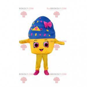 Reusachtige ijspot mascotte, kleurrijke ijsmascotte -