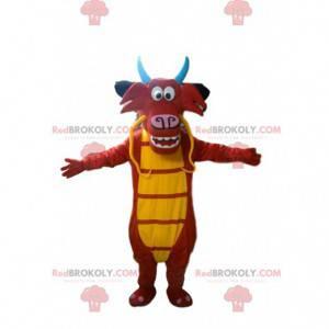 Maskot Mushu, slavný červený a žlutý drak v Mulanu -