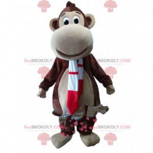 Bruine aap mascotte met een rode en witte sjaal - Redbrokoly.com