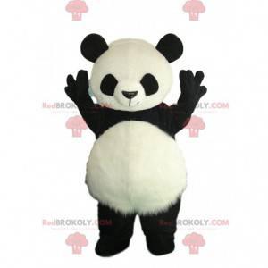 Disfraz de panda blanco y negro con barriga peluda -