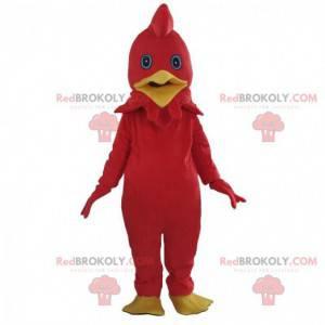 Disfraz de gallo rojo, mascota de pollo colorido -