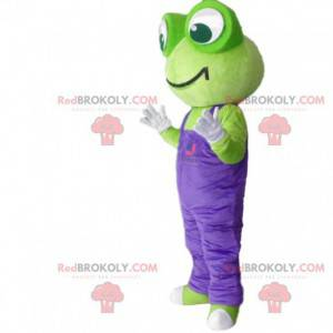 Mascotte groene kikker met paarse overall - Redbrokoly.com