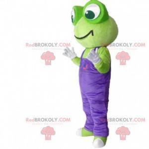 Maskot zelená žába s fialovým overalem - Redbrokoly.com