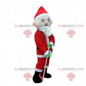 Mascot Santa Claus med en byg candy candy cane - Redbrokoly.com