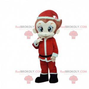 Macaco mascote com roupa de Papai Noel, fantasia de Natal -