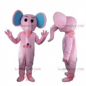 Roze en blauwe olifant mascotte, dikhuidige kostuum -