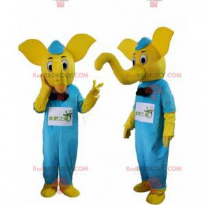 Gul elefantdragt med blåt tøj - Redbrokoly.com