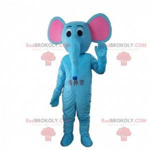Blå elefant kostume med lyserøde ører, kæmpe elefant -