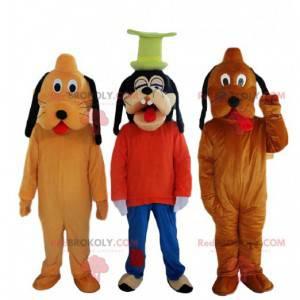 3 mascottes, 2 Pluto-honden en een Disney Goofy-mascotte -